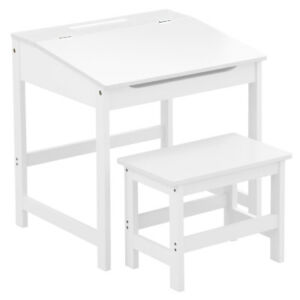 Study Activity White Desk Kids Children Table And Stool Chair Seat Furniture Set