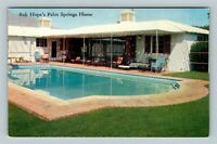 Palm Springs CA, Bob Hope's Home Pool Mountains View, Chrome California Postcard