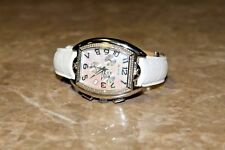 Men's G-Ice Stainless Steel/ Genuine Leather White Band/ Diamond Watch