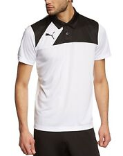 Puma Kids Sports Football Esquadra Leisure Polo Shirt Top Junior White Black 128