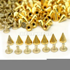 100x 10mm Gold Metal Bullet Studs Cone Punk Spikes Spots Rivet Leathercraft DIY