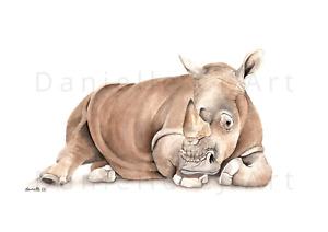 Watercolour Rhinoceros Print - rhino painting, wild animal art, safari artwork
