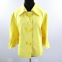 Sandro Jacket Womens Plus Size 1X Yellow Cotton Bell 3/4 Sleeves Short Swing