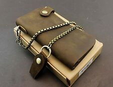 Vintage Biker Trucker Mens Thick Leather Snap Long Wallet w/ Brass Yellow Chain