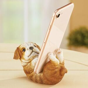 Adorable Bulldog Puppy Dog Cell Phone Holder Desk Stand Statue