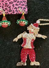 Adorable Betsey Johnson Enamel / Crystal  Clown Earrings and Pendant Necklace