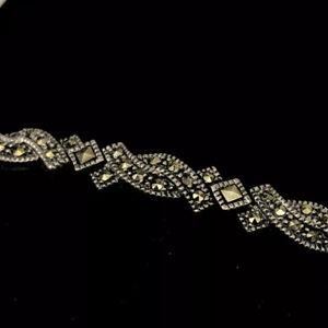 "Vintage JUDITH JACK Marcasite Sterling Silver Fancy Scroll Bracelet 7"""