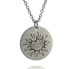 SNAP Comic Book Sound Effect Bubble Necklace - Engraved Stainless Steel Pendant