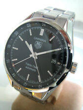 TAG HEUER CARRERA Twin-Time Auto Date Size 38mm Black dial with tritium marks Da