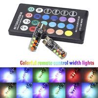 2PCS T10 COB RGB LED 6SMD Car Wedge Side Multicolor Light Bulbs w/Remote Cont 9H
