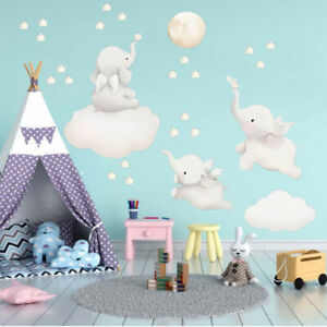 Cute Cartoon Animal Elephant Wall Stickers for Baby Kids Nursery Home Decor DIY