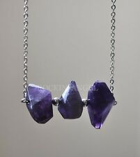 Natural Amethyst Triple Bar Necklace Pendant Reiki Healing Crystal Ladies Gift