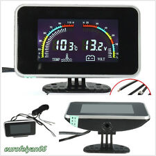 DC 9-36V 2In1 Vehicles LCD Digital Voltmeter Water Temp Temperature Gauge Meter