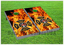 VINYL WRAPS Cornhole Boards DECALS Fire Dept Bag Toss Game Stickers 689