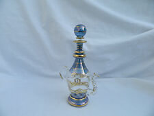 "Tea Pot Hand Blown Egyptian Glass Gold Accent Perfume Bottle Gift 6.75"" # 292"
