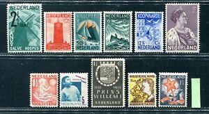 Nederland 1930, 11 zegels tussen nvph 232 en 265, ongebruikt/MH; opruiming, sale