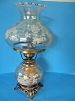 VINTAGE GWTW 2-WAY PARLOR HAND PAINTED FLOWERS GLASS-BRASS HURRICANE LAMP