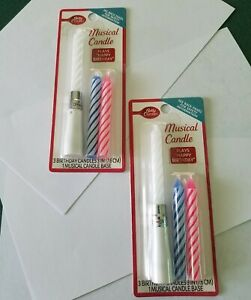 """Betty Crocker 3 Musical Birthday Candles in 1 Musical Candle Base 3"""" High New"""