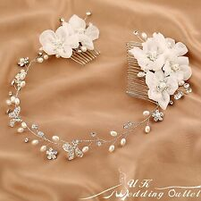 Bendable pearl crystal chiffon flower bridal hair vine wedding accessories comb