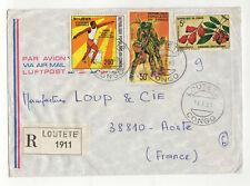 Congo 3 timbres sur lettre R 1980 tampon Loutété /L52