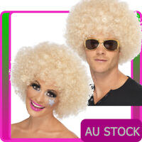 Adults Blonde 70s Funky Afro Wig Curly Ladies Mens 1970s 70's Party Disco Wigs