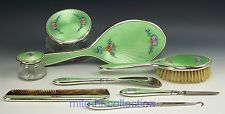 1911-1933 F.M.A Cl Sterling & Guilloche Enamel Roses Ribbon Dresser Set