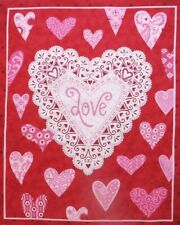 """Valentine Heart Love Red 17"""" x 21.5"""" Quilt Top Fabric Panel"""