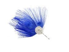 Azul Plateado Diamante Pluma De Pavo Real Tocado Pasador Vintage Carreras 20s
