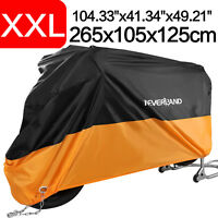 XXL Waterproof Motorcycle Cover Orange Universal For Road Cruiser Touring Bikes