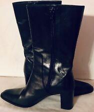Via Spiga Italy Black Leather Zip Mid Calf Block Heel Fashion Boots Size 6 M