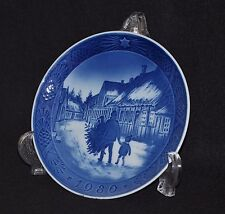 "Royal Copenhagen 1980 Christmas Plate - ""Bringing Home The Christmas Tree"""