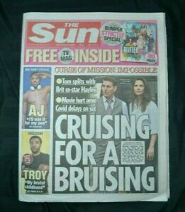 Sun UK Newspaper 25/09/21 September 25th 2021 Tom Cruise Haylet Atwell Split