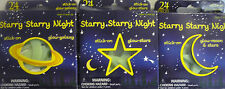24 x Glow in the Dark Stick on Moon, Stars & Planets & Stars Up to 7cm Free Post