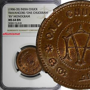 India-Princely States TRAVANCORE (1906-35) Chuckram NGC MS64 BN TOP GRADED KM#49