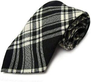 Gents Pure Wool Menzies Black & White Tartan Tie - MADE IN SCOTLAND