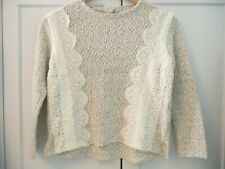 ZARA Knitwear Girls Collection Age 9-10 Grey/White Lace Detail NEW WITH TAGS