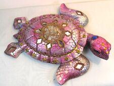 Sea Turtle Patena & Jeweled Decorative Wall Art Rose Tropical Sealife