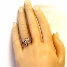 10k yellow gold .05ct SI1 H diamond cluster womens ring 3.2g vintage estate