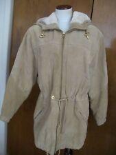 Women's Colebrook Beige Hooded Leather Winter Coat Size Medium