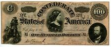 1864   $100    Counterfeit   Confederate  Currency  T-65/491