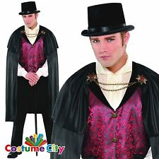 Adult Mens Halloween Gothic Count Blood Vampire Fancy Dress Party Costume