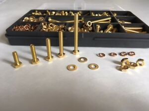 M4 Brass Bolts and Nuts Set Screws and Washers Assorted Box 520 pcs