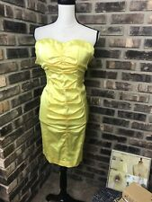 Cache Bright Yellow Cocktail Party Dress Womens sz 4 Mini Bodycon Club Ruched BC
