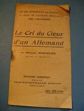 HERMANN ROSEMEIER Cri du Coeur 1918 PROPAGANDE PATRIOTIQUE PAMPHLET ALLEMAGNE