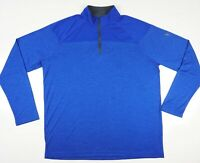 Under Armour HeatGear Loose Block Heather 1/4 Zip Pullover Long Sleeve Blue XL