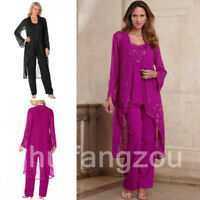 Mother of the Bride Gifts 3 Pieces Jacket Outfit Suit Beaded Beading Tea Length