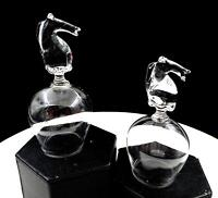"PILCHUCK ART GLASS 2 PIECE HORSE HEAD FIGURE 4 3/4"" BOTTOMS UP STIRRUP GLASSES"
