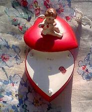 New listing Heart Shaped Trinket Box w Cherub Angel/Wings Lefton Exclusives Japan Very Nice!