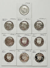 LOT OF 10 ~ MIXED DATE 1964-P - 2003-S ~ PROOF SILVER ~ KENNEDY HALF DOLLARS
