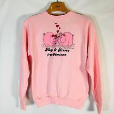 Vintage Pig Graphic Crewneck Sweatshirt Sz L USA Pink *1986* montana souvenir